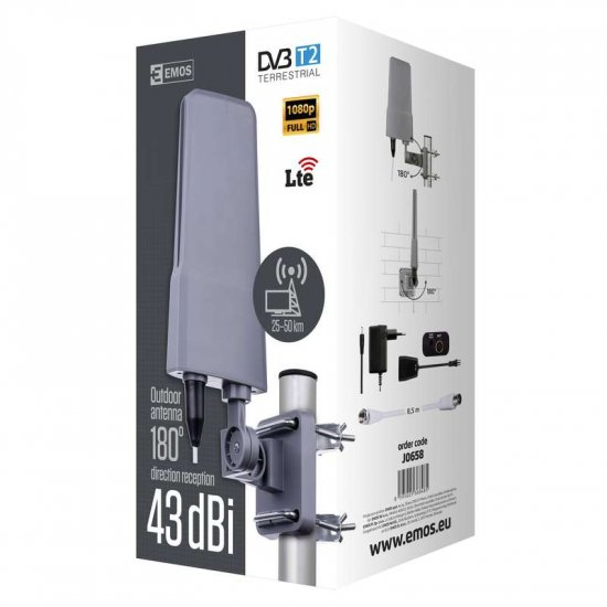 Antena zewnętrzna DTVO-6, 43 dBi, filtr LTE/4G EMOS