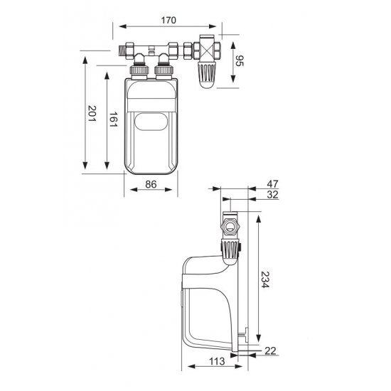 Przepływowy podgrzewacz wody z przyłączem 9 kW DAFI