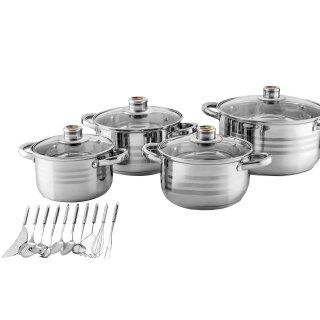 Komplet garnków z akcesoriami kuchennymi 21 elementów FLORENTYNA