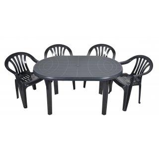 Zestaw mebli ogrodowych Stół + 4 krzesła grafit OŁER