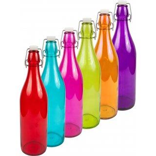 Butelka 1L z hermetycznym zamk. - okrągła kolor BROWIN