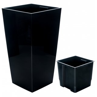 Doniczka Finezja 25 cm czarna LAMELA