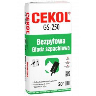 Gładź szpachlowa bezpyłowa 20 kg GS-250 CEKOL
