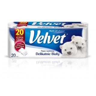 Papier toaletowy 20 rolek delikatnie biały  VELVET