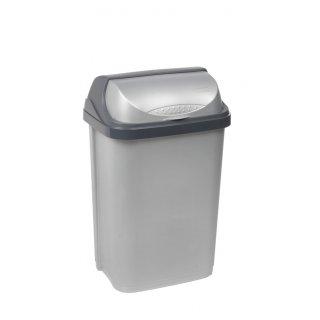 Kosz na śmieci z odchylaną pokrywą 25 L srebrny KEEEPER