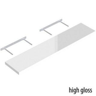 Półka samowisząca biała połysk 118x23,5 cm VELANO
