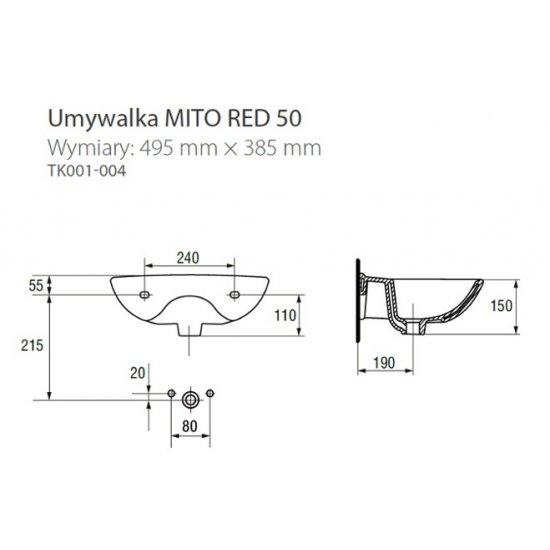Umywalka Mito 50 cm CERSANIT
