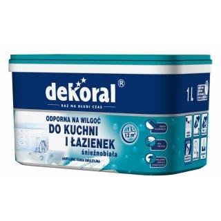 Farba do łazienki i kuchn biały 1l DEKORAL