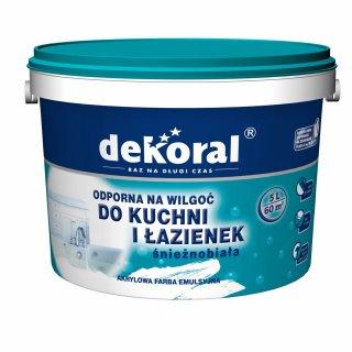 Farba do łazienki i kuchn biały 5l DEKORAL