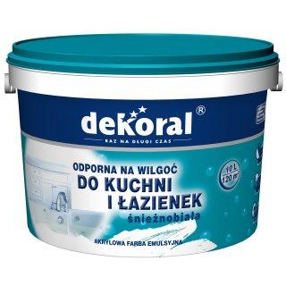 Farba do łazienki i kuchn biały 10l DEKORAL