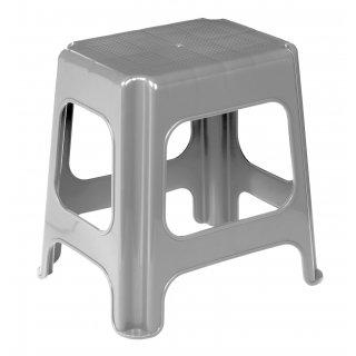 Taboret stołek plastikowy Maxi srebrny KEEEPER
