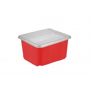 Skrzynka pojemnik STACK&GO 24l z pokrywą czerwony OKT