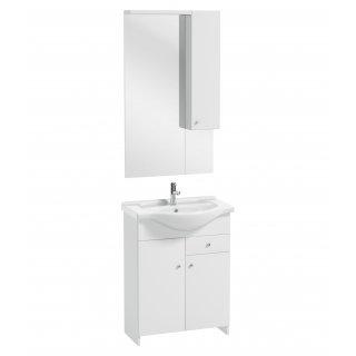 Zestaw szafka z umywalką lustrem i oświetleniem SILVES 65 cm
