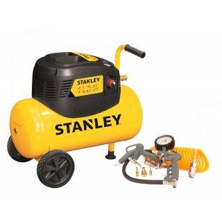 Kompresor bezolejowy Stanley, zbiornik 24L + kpl. pneumatyczny ARAK6