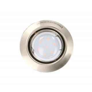 Oprawa sufitowa okrągła ruchoma satyna + żarówka LED 3W