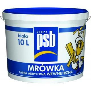 Farba akrylowa do ścian i sufitów biała 10 l MRÓWKA