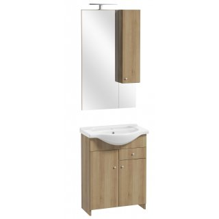 Zestaw szafka z umywalką lustrem i oświetleniem buk trufowy Silves DEFTRANS
