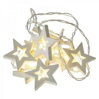 Girlanda LED drewniane gwiazdki 2 × AA ciepła biel EMOS