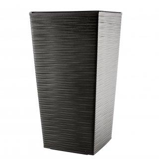 Doniczka Finezja wzór dłuto 19 cm grafit metalic LAMELA