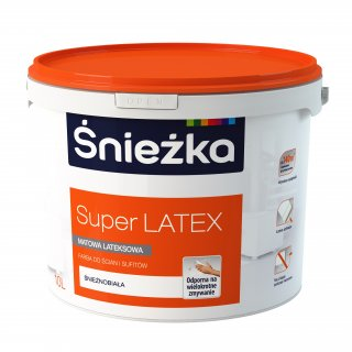 Farba do ścian sufitów Super Latex 10L biała ŚNIEŻKA