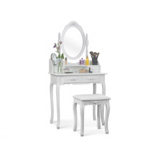 Toaletka kosmetyczna Diana z lustrem i taboretem NERGIS