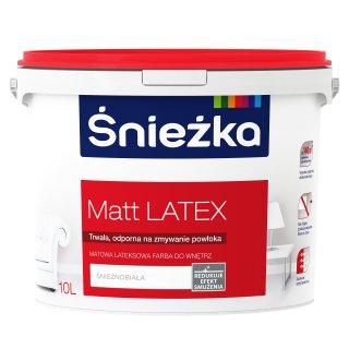 Farba lateksowa do wnętrz biała matowa 10L ŚNIEŻKA