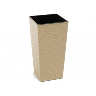 Doniczka Finezja wzór dłuto 19 cm cappuccino LAMELA