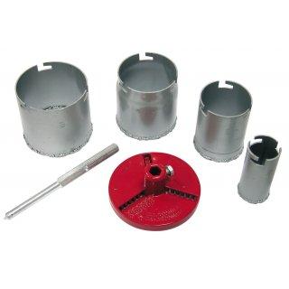 Otwornice koronowe z nasypem wolframowym 33-73mm zestaw PROFIX