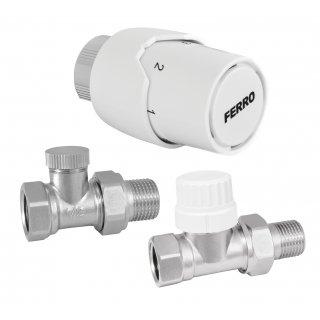 Zestaw termostatyczny prosty z głowicą 1/2 FERRO