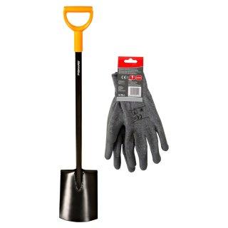 Szpadel prosty Solid + rękawice męskie rozmiar 10 FISKARS