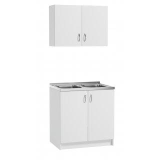 Zestaw mebli kuchennych szafka pod zlewozmywak+ szafka wisząca biała DEFTRANS