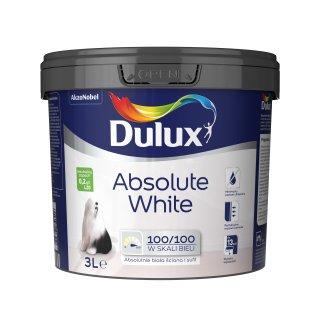 Farba do malowania ścian i sufitów Absolute White 3l DULUX
