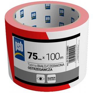 Taśma ostrzegawcza biało czerwona 75 mm x 100 m PSB