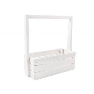 Skrzynka drewniana biała z pałąkiem 31x30x13 cm TIN TOURS