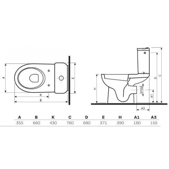 Kompakt WC Lazur odpływ poziomy 3/6 L + deska KOŁO