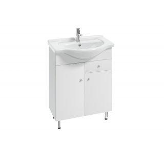 Zestaw MAT szafka z umywalką 65 cm 2D1S biała pełny lakier