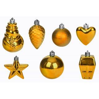 Zestaw złotych ozdób świątecznych złote 28 szt.