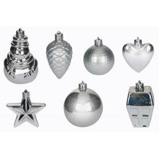 Zestaw złotych ozdób świątecznych srebrne 28 szt.