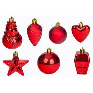 Zestaw złotych ozdób świątecznych czerwone 28 szt.