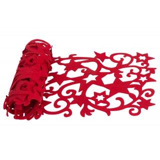 Ażurowy bieżnik z filcu czerwony 150x40