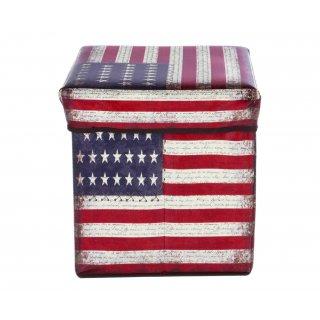 Pufa składana schowek do 100 kg flaga USA