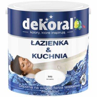 Farba do łazienki i kuchni biały 2,5l DEKORAL