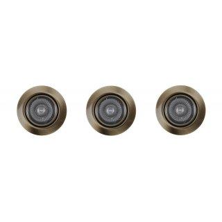 Oprawa sufitowa zestaw 3 oczek okrągłych zloto antyczne